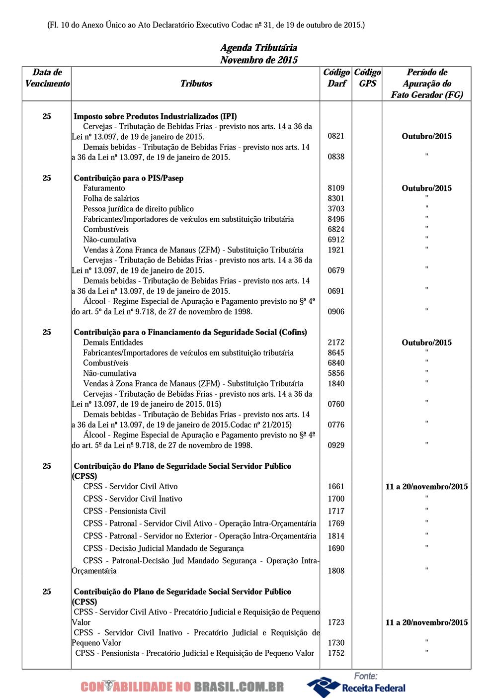 agenda tributaria novembro de 2015 10